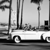 Nice Day for a Ride in a Convertable in Newport Beach CA black and white
