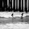 Early Morning Surfing at Huntington Beach CA black and white