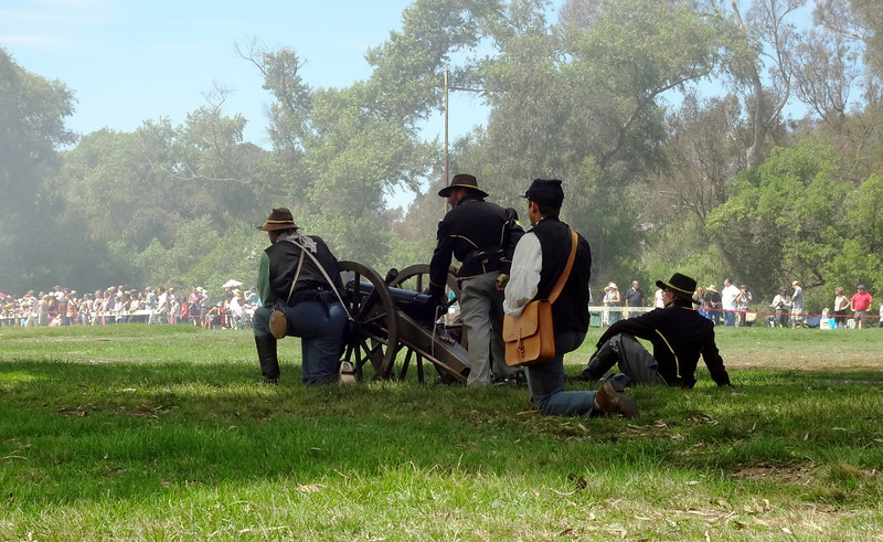 Shooting at the Red Coats in Huntington Beach Reenactment of Civil War 2