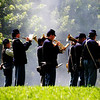 Playing Music at Reenactment of Civil War Which Took Place 150 Years Ago With Cannon Smoke