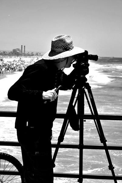 Serious Photographer at US Open in Huntington Beach California black and white