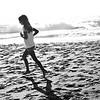 Running at Newport Beach CA at Dusk black and white