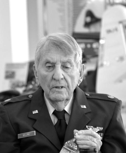 World War II Pilot at Lyons Air Museum in Costa Mesa, CA black and white