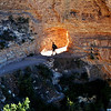 Hiker on Bright Angel Trail at the Grand Canyon in Arizona