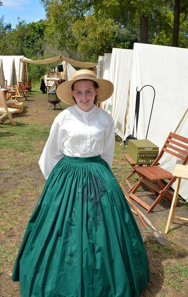 Pretty Girl at Camp Site of Civil War Reenactment at Huntington Beach CA