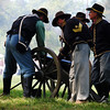 Getting Ready to Fire the Cannon at the Reenactment of the Civil War in 1863