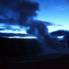 First Morning Eruption of Old Faithful in Yellowstone